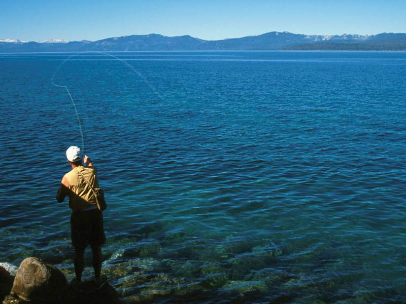 Hiking and fishing for Tahoe fly fishing